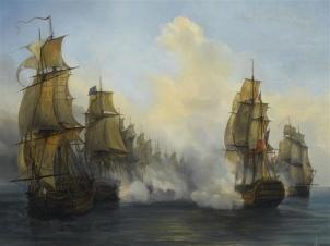 Peinture d'Auguste Mayer représentant le combat du 118 canons le Wagram, le 5 novembre 1813.
