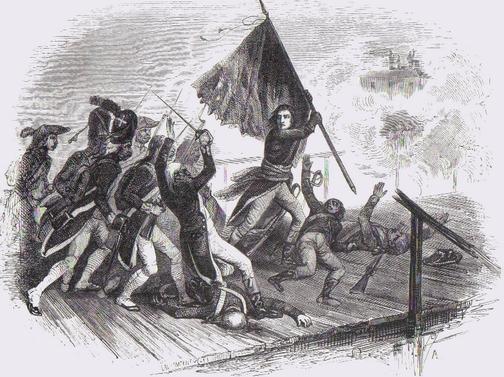 Muiron, mortellement touché durant la fameuse charge sur le pont d'Arcole, le 15 novembre 1796. sur le pont d'Arcole, le 15 novembre 1796