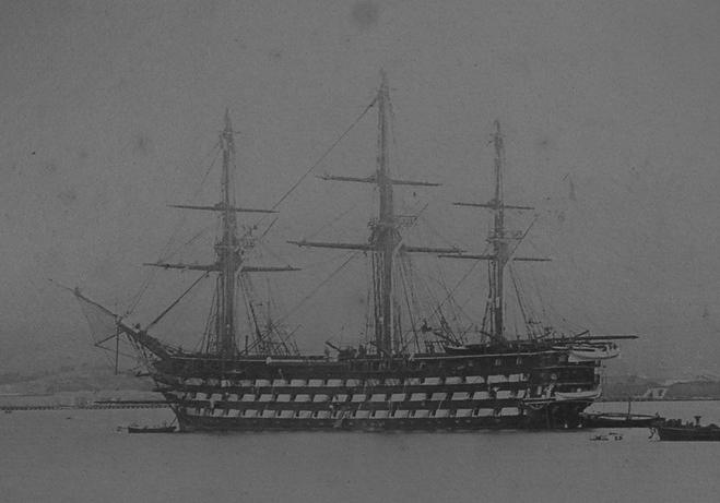La Ville de Paris. Lancée à Rochefort en 1850, commandée par Rigault de Genouilly en 1854. Ce navire reçut une machine à vapeur en 1857. Archives du Musée national de la Marine.