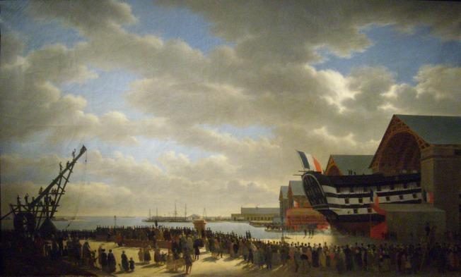 Lancement du Friedland à Cherbourg le 4 avril 1840, par Antoine Chazal