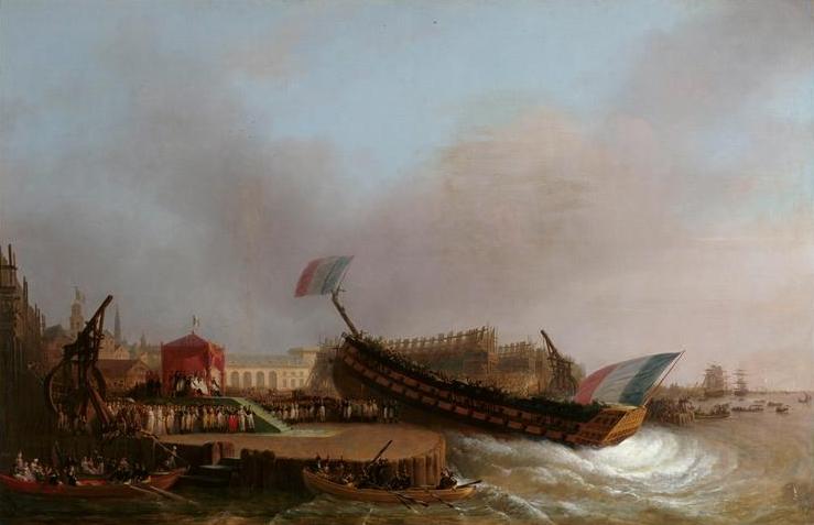 Lancement du vaisseau de 80 canons le Friedland dans l'arsenal d'Anvers, le 2 mai 1810, en présence de Napoléon. Par Mattheus Ignatius van Bree.