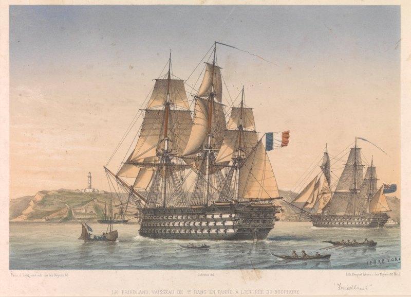 """""""Le Friedland, vaisseau de 1er rang en panne a l'entrée du Bosphore"""". Par Lebreton."""