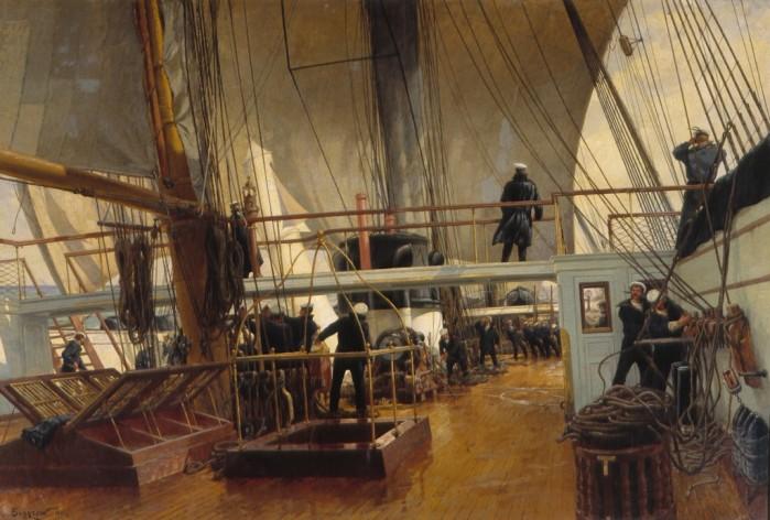 Sur le pont de la frégate Svetlana. Par Alexander Beggrov. Musée central de la Marine de Guerre de Saint-Pétersbourg.