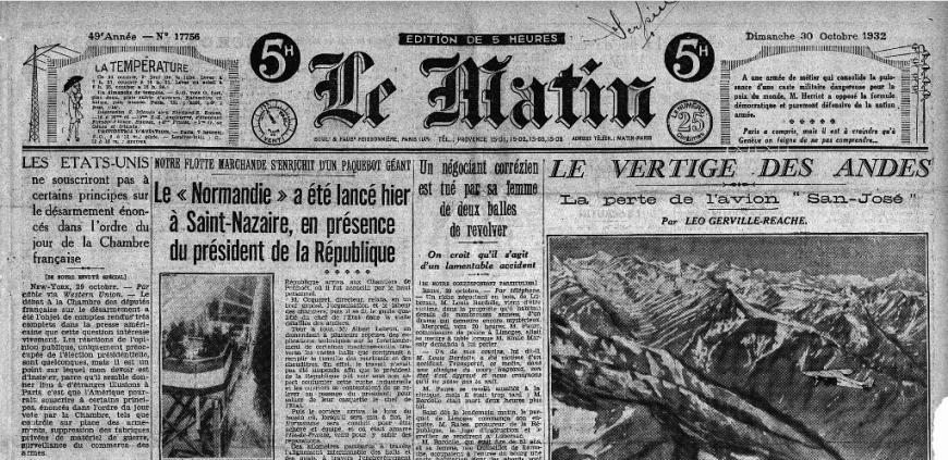 Une du journal Le Matin du 30 octobre 1932.