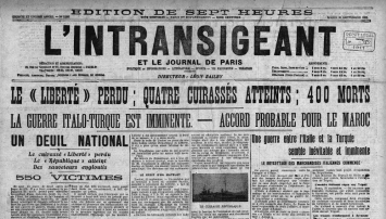 Une du journal L'Intransigeant le 26 septembre 1911