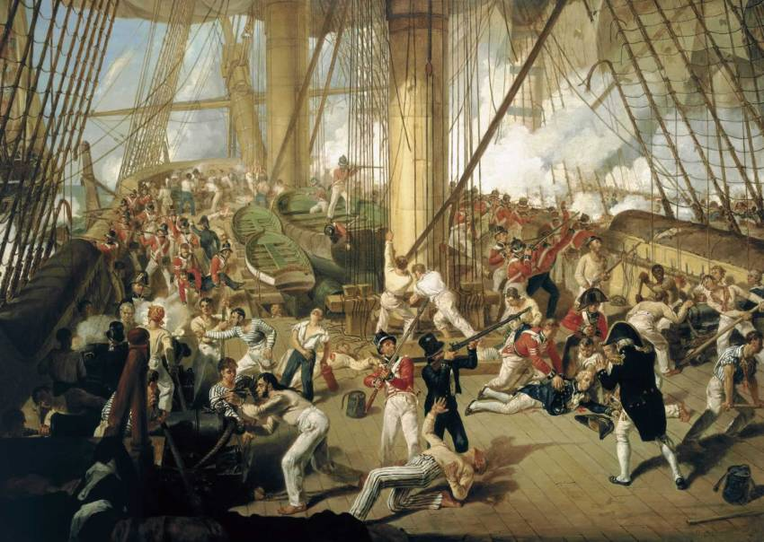 The Fall of Nelson. Par Dighton. The National Maritime Museum, Londres.